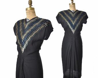 1940s dress / sequin striped dress  / 40s dress / As Is study dress