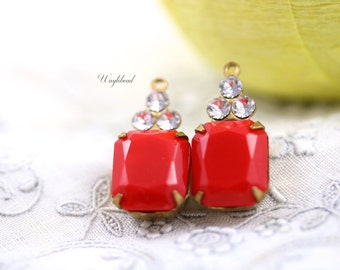 Vintage Faceted Octagon Stone and Swarovski Crystals 1 Ring Opaque Red & Crystal 21x10mm Brass Prong Settings - 2 .