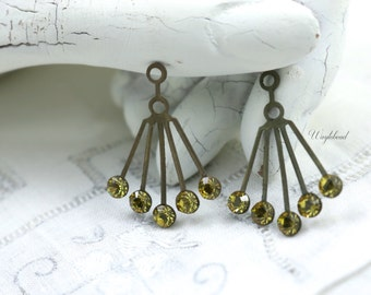 RARE Vintage Art Deco Style Yellow Lime 30x21mm Brass Dangle Finding Swarovski Crystals Ear Jackets - 2