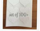 envelope seals - small white glitter heart stickers - made to order