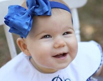 Holiday Royal Blue Girls Ruffle Bow Stretch Headband