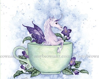 Enchanted Tea unicorn 8.5x11 print by Amy Brown