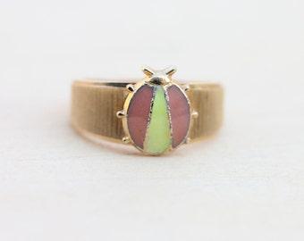 Vintage Pink Ladybug Ring - Size 3.75
