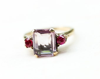10K Ruby and Amethyst Ring - Size 5.5