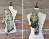 1950s silk scarf / yellow & black floral silk scarf / 50s silk hair scarf