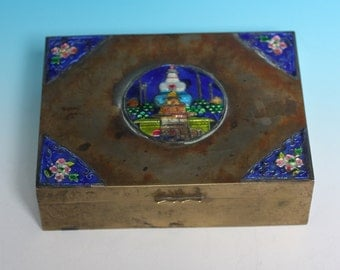 Cloisonne Enameled  Brass Box  Chinese Temple Cedar Wood Lining  Vintage Collectible
