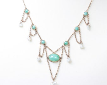 Edwardian Gold Filled Festoon Necklace Pearls Green Glass 14K Clasp