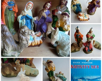 Vintage Nativity Set  - 12 Piece Hand Painted Ceramic Ntivity figurines with wood manger - made in Japan 1960s in original box