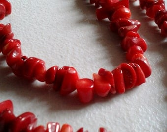 Necklace - Vintage Dyed Coral Bead Necklace
