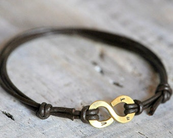 Personalized Infinity Bracelet - Brass personalised initials or numbers - Mens and Unisex Leather anniversary gift for him or for a couple