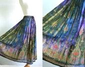 90s Vintage Maxi Skirt Screen Print Tie Dye India Festival Hippie Gauze Skirt