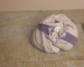 Soft Taupe Stretchy Knit Wrap and Flower Tieback Set - newborn baby photo prop