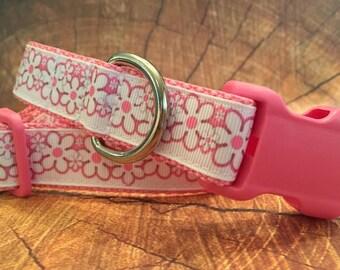 Pink Flower Dog Collar, In M, L, XL, Girl Dog