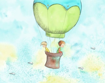 Two Boys Brothers In Green Hot Air Balloon Blond and Brown Hair - FLOATING ON a BREEZE - Art Print Children