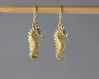 Sea Story .. Seahorse Gold Earrings, for Beach Party, Birthday Gift for Wife, for Sister, Summer Trend, for Girlfriend, Sea Horse Earrings