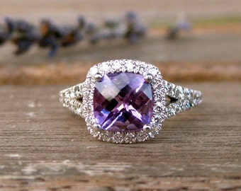 Amethyst Engagement Ring in 18K White Gold with Diamonds and Split Shank Size 6