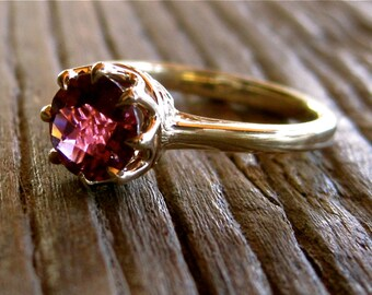 Pink Red Tourmaline Solitaire Ring in 14K Yellow Gold with Prong Basket and Scrolls Size 6