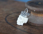 Handmade Jewellery Component - Handcarved Bone Skull with Rhinestone Eyes and Silver Crown