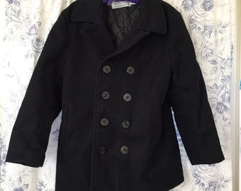 Navy PEA Jacket . Wool Coat . Schott . New York City . Rare Vintage Treasure . Size 14