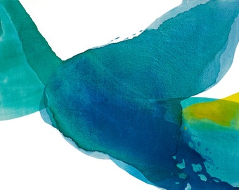 """Big Contemporary Abstract Painting, blue, yellow, green, 43 x 55"""" """"Deep Water - Rhythm"""" mid century inspired art, modern minimal canvas"""