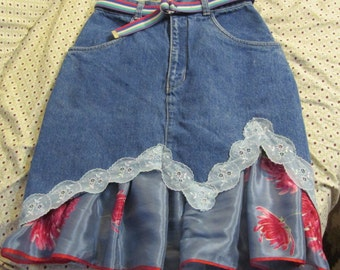 upcycled artsy jean skirt refashion size 7/8 vintage lace and scarf ruffle