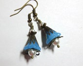 Earrings Turquoise Czech  Glass Bell Flower, Swarovski Crystal Pearls, Antiqye Brass, Spiritcatdesigns