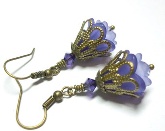 Flower Earrings, Purple Lavender, Southern Petunia Lucite Flower, Swarovski Crystals, Antique Brass