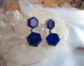Beautiful Vintage Sterling Silver Lapis Lazuli Drop Earrings / Boho Lapis Dangle Earrings