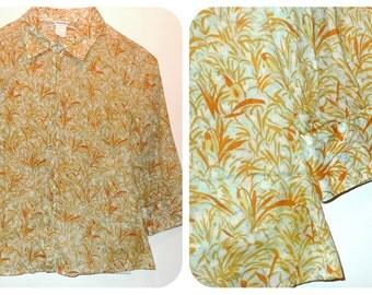 Madras Cotton Oxford Shirt Poet Artist ButtonDown Fitted Anthropologie Pastel Seafoam Green Mint Julep Blouse Orange White Abstract Print