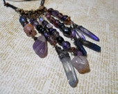 Purple Beaded Collection Necklace with Crystals