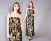 Vintage 70s Party DRESS / 1970s Black Chiffon Metallic Gold Paisley Ethnic Strappy Maxi