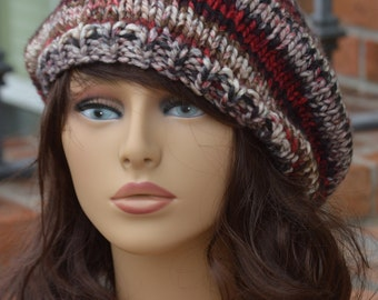 Knit Chunky Hat - Red and Black Chunky Knit Beret