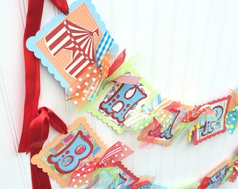 Carnival Birthday Banner Circus Birthday Banner Vintage Theme Party Decoration