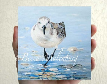 bird art Sanderling Original oil painting miniature beach bird shorebird fine art