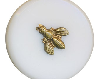Button--Mid-19th C. Brass Bee Pin-shanked on Milk White Glass Wafer