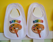 ONE Art Party Favor Art Birthday Party Baby Boy or Girl Cotton White Bib Painting Pottery Personalized Bib with Palette Velcro Fastened