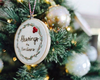 Family Name Ornament. Name Ornament. Embroidery Ornament, First Christmas Ornament, Personalized ornament, christmas keepsake ornament