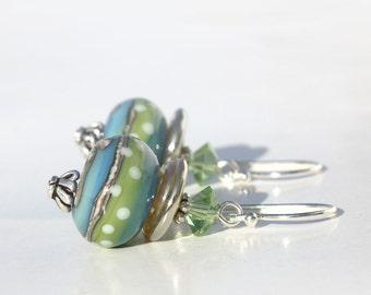Lampwork Glass Earrings, Sterling Silver Dangle Earrings, Polka Dots, Blue Aqua Earrings, Green Earrings, Swarovski Crystals, Bali Silver