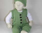 Baby Dungarees and Beanie Hat knitting pattern - instant digital file pdf download knitting pattern
