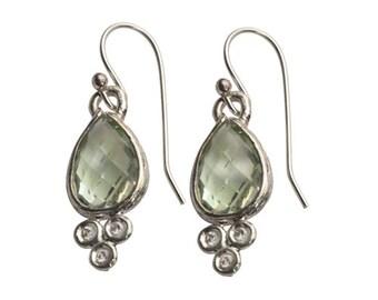 Sterling Silver Green Amethyst Earrings ,  dangle earrings / 925 SILVER 9K Gold / classic earrings