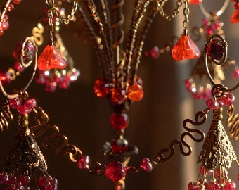 A Red Heart Sunshower Chandelier