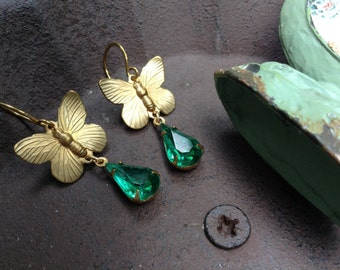 Brass Butterfly And Emerald Green Crystal Earrings