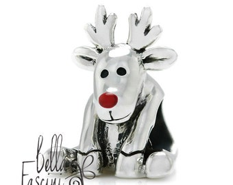 Rudolph Red Nose Reindeer Christmas Bead Charm 925 Sterling Silver Fits Pandora, Charmed Memories & Compatible Brands  BELLA FASCINI® M-31N