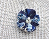 Blue Lapel Flower Silk Boutonniere Mens Lapel Pin Flower Lapel Pin Gifts for Men Custom Lapel Pins Men Kanzashi Pin Morning Glory