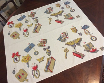 Vintage 1950s Tablecloth MEMORABILIA & TRINKETS Butterfly, Skeleton Key, Tickets, Pocket Watch in Red Gold Gray Card Table Cotton