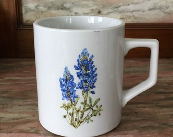 Vintage Mug LUPINE Floral 1980s Tea or Coffee Cup