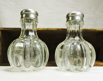 Antique Glass Salt and Pepper Shakers, Victorian Era, Pewter Lids
