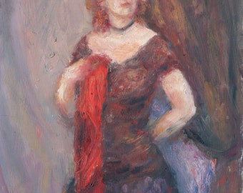 She always had a flair for the dramatic... Painting and Prints of Original Oil Painting, Fine Art, Impressionist Portrait
