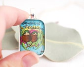 Snugglepot & Cuddlepie necklace, Australian postage stamp pendant necklace
