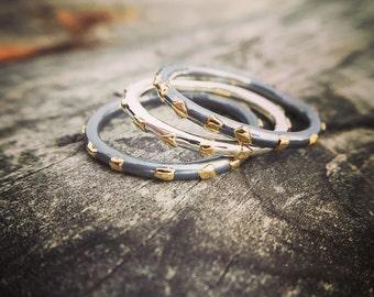 Sterling Silver Ring 22K Gold Ring Handmade Wild Prairie Silver Jewelry Joy Kruse